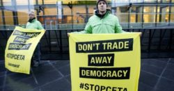 Greenpeace activists lobbying against CETA in Luxembourg earlier this year. (Photo: EPA)